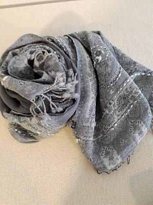 Sciarpa lana 100% ricamata a mano GRIGIO CHIARO