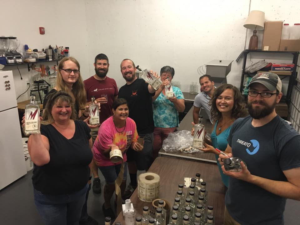 MISCellaneous invites friends and neighbors to help with bottling and labeling spirits. Sign up for their email list to hear when the next bottling party is scheduled! — at MISCellaneous Distillery.