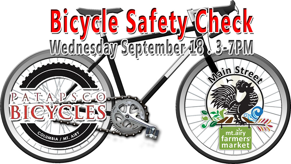 Bicycle Safety Check at Mount Airy Main Street Farmers Market Wednesday September 18 3-7PM