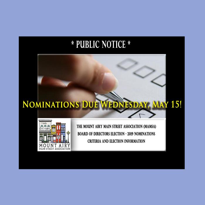 MAMSA Board Nominations Due Wednesday May 15