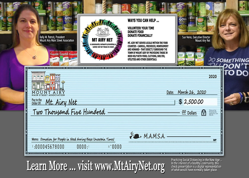 Practicing Social Distancing in the New Age ... In the interest of a healthy community, this  check presentation is a digital representation  of what would have normally taken place.