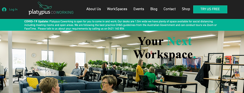 Image of the home page of platypus coworking . com . au