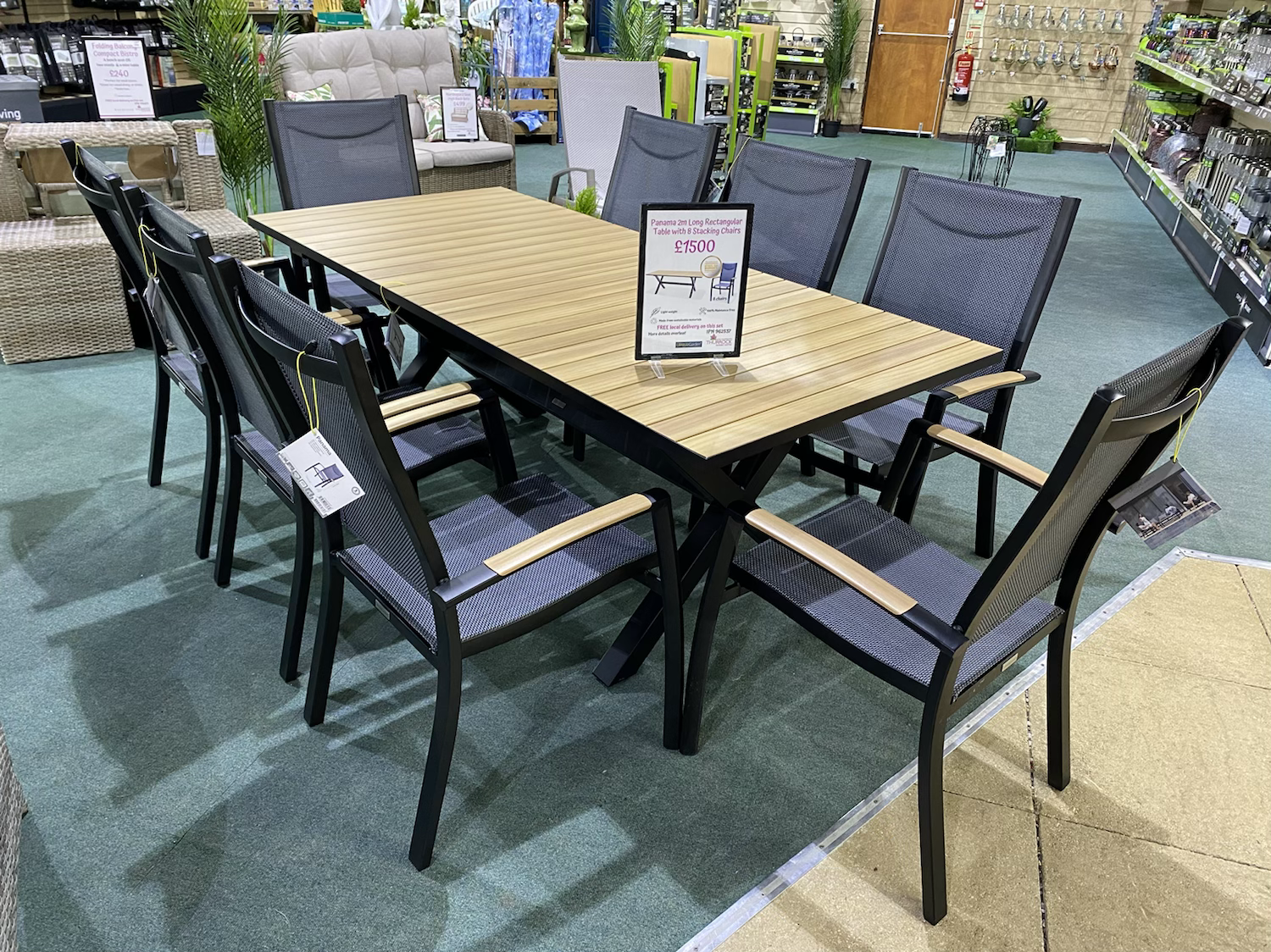 Panama 2m Long Rectangular Table with 8 Stacking Chairs - £1500