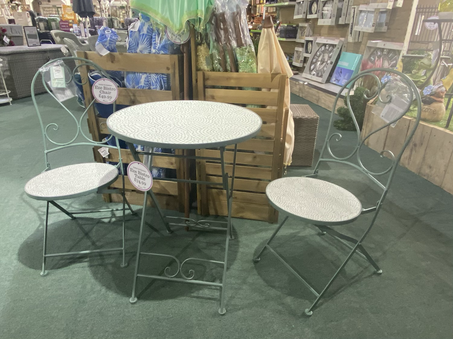 Eze Bistro Table - £74.99. Chair - £49.99