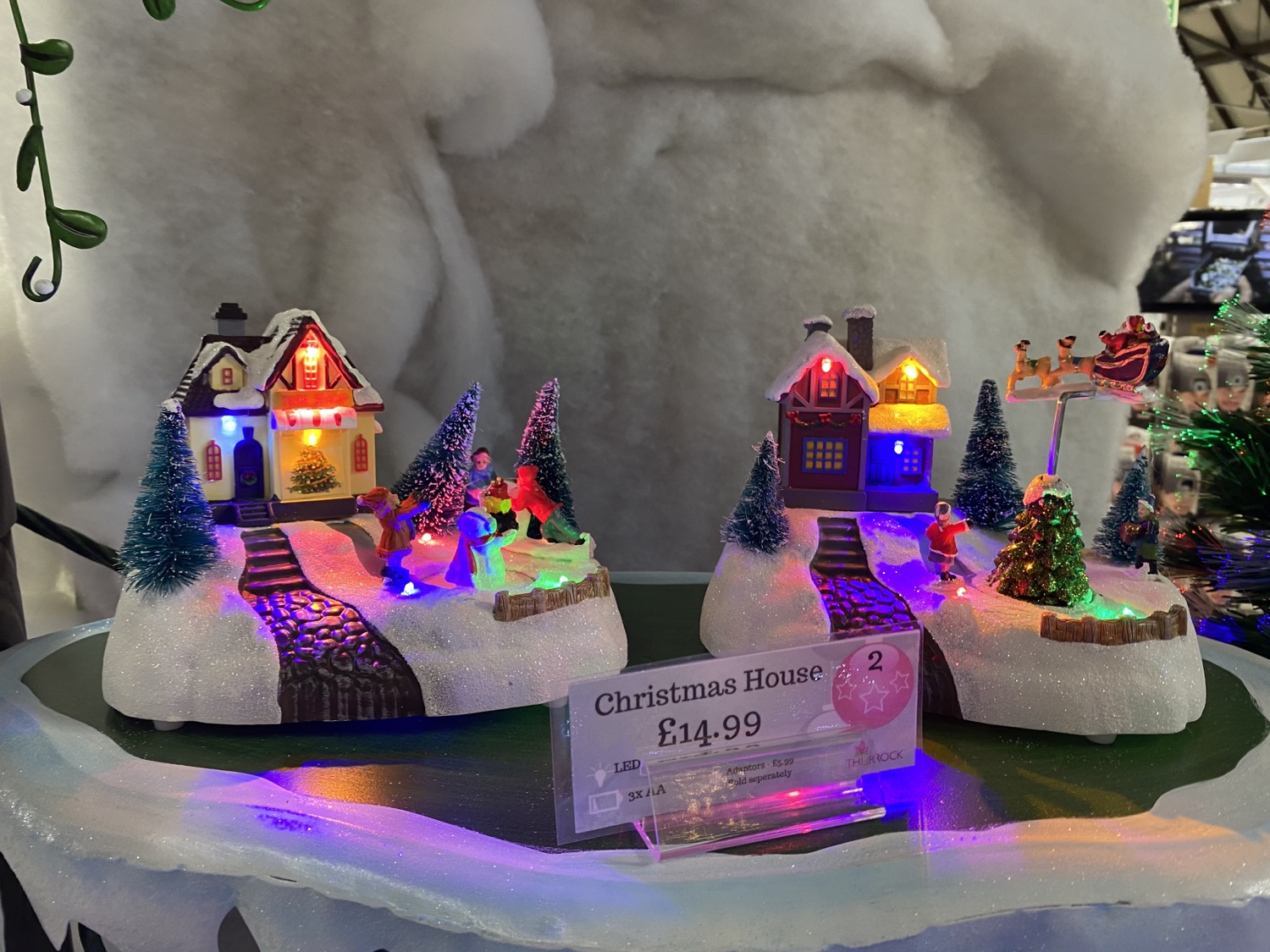 fibre optic, villages, reindeer, trees, santa, penguin, lights