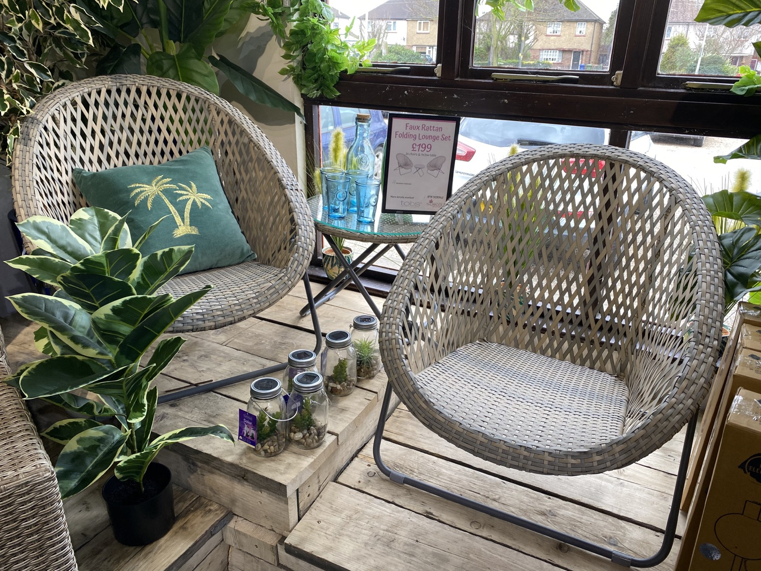 Faux Rattan Folding Lounge Set - £199