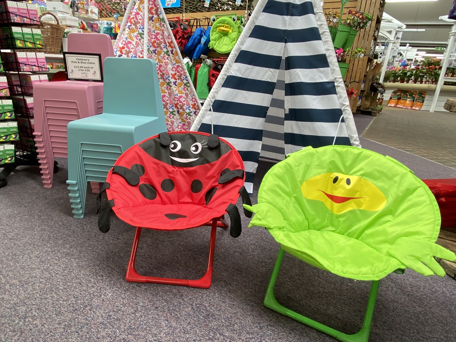 Pink & Blue Chairs - £15.99 eachChildren's Teepee's - £34.99 & Moon Chairs - £16.99