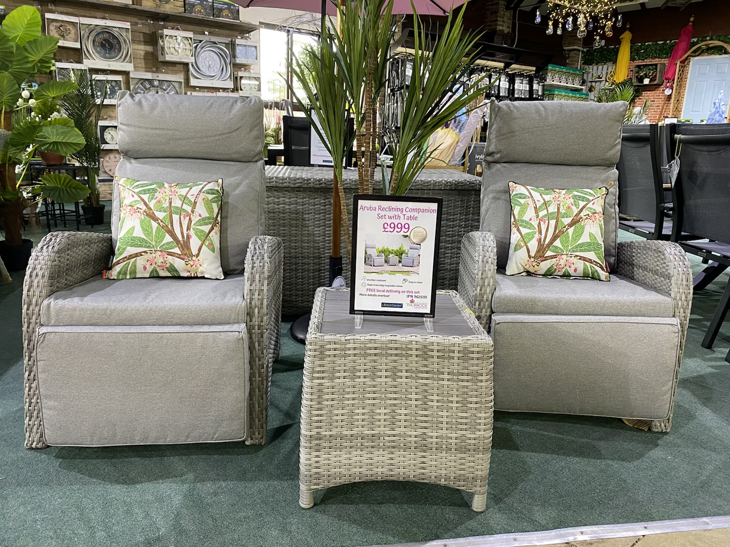 LAST ONE Aruba Reclining Companion Set with Table - £999