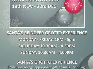 Santa's Reindeer Grotto Experience opens Saturday 18th November