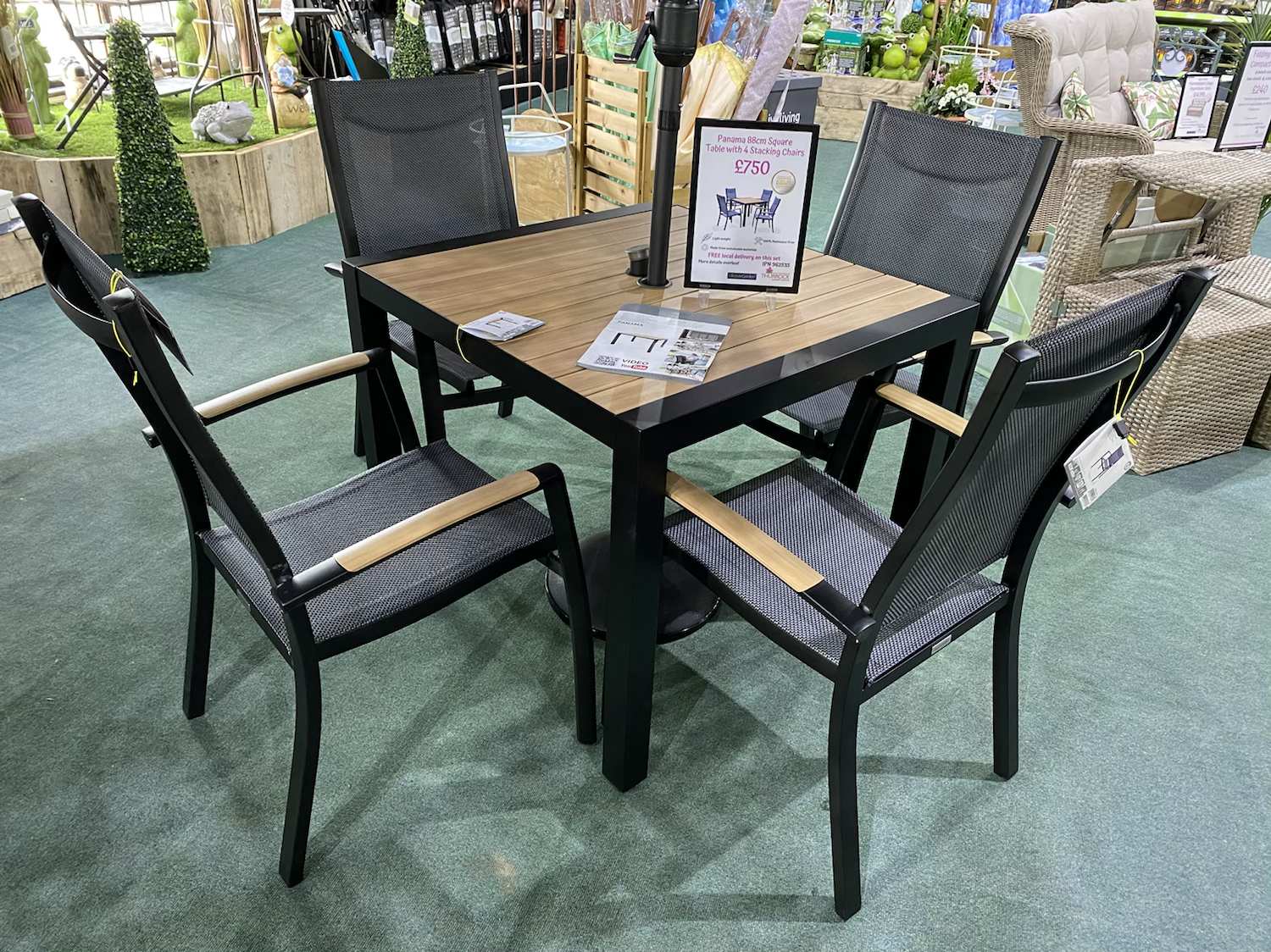 Panama 88cm Square Table with 4 Stacking Chairs - £750