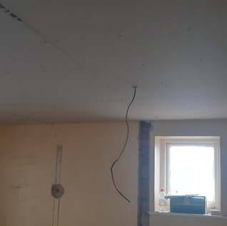 New ceiling, upstairs toilet
