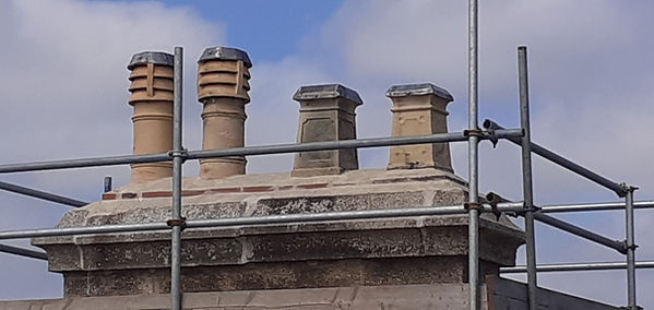 Tops of the chimneys now covered with lead to prevent any water ingress