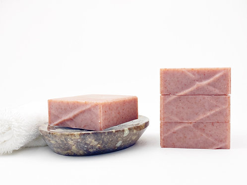 sandalwood scented soap on a dish handcrated small batch