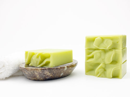 lime green soap on a dish handcrafted
