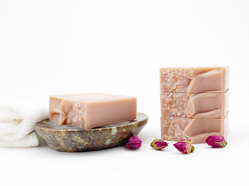 light pink soap bar on a dish handcrafted rose gold scent
