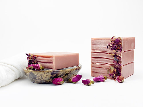 rose soap bar on a dish handcrafted avocado oil