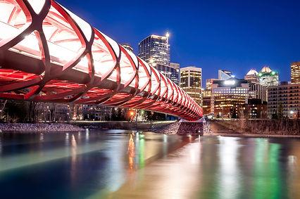 Illuminated peace bridge and calgary downtown buildings