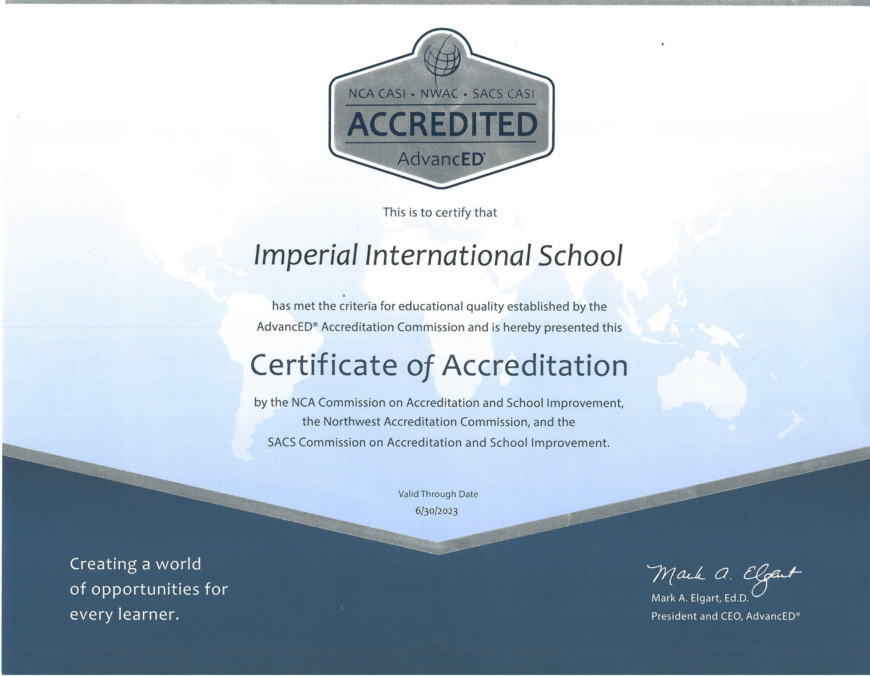 AdvancED Accreditation Certificate