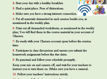Virtual classrooms guidelines for students