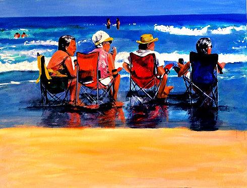 Beach Hangout 30x40 Oil Original $2150 Prints From