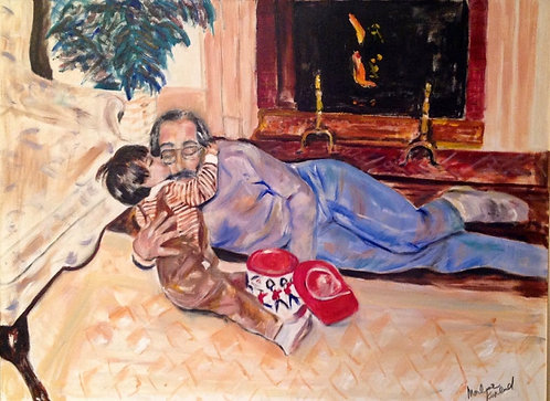 Playtime With Dad 40 x 30 Oil Original $1800 Prints From