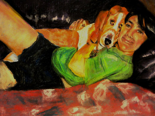 Boy's Best Friend 18x24 Oil Pastel - Prints From