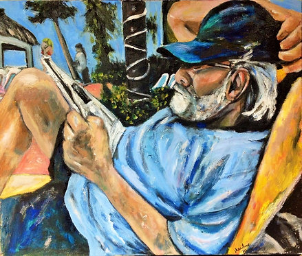Man on the Beach Reading His Newspaper 18x24 Oil Original $1375 Prints From