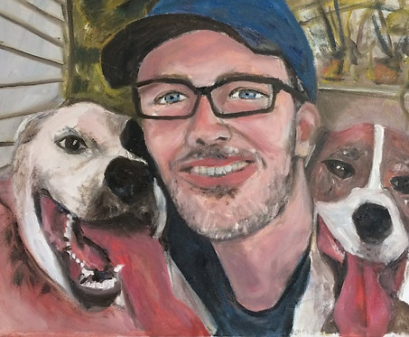 His Two Best Friends 16x20 Oil Original $870 Prints From