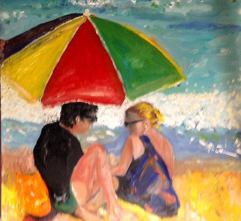 Beach Lovers 20x20 Oil Original $975 Prints From