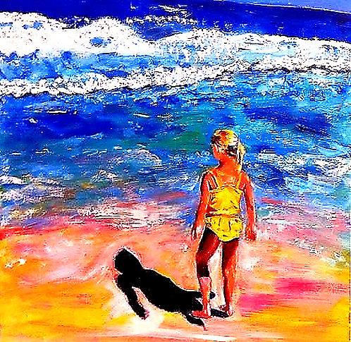Beach Girl in Yellow 30x24 Oil Original $995 Prints From