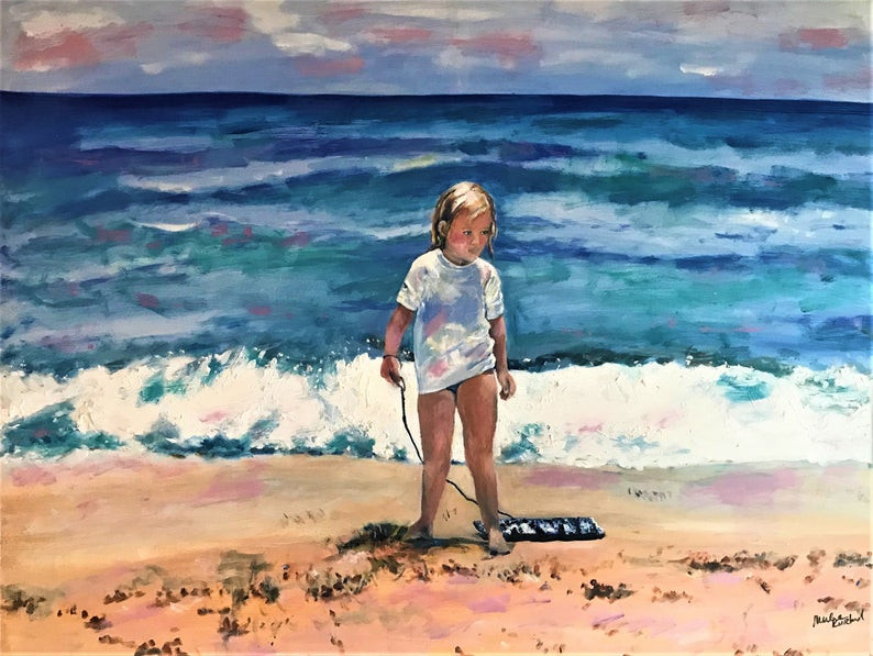 Beach Girl With Boogie Board