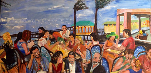 Beach Dining in Ft. Lauderdale 48x24 Oil Original $2800 Prints From