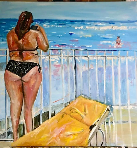 Fun With Her Son in Fort Lauderdale 24 x 36 Oil Original $995 Prints From