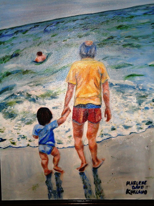 Little Boy's First Time in the Ocean 24x30  Oil Original $1885 Prints From
