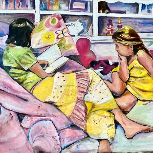 Big Sister Reading to Her Littler Sister 36x48 Oil Original $1975 - Prints from