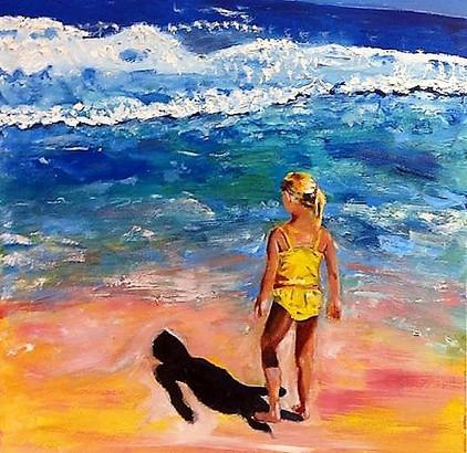 Beach Girl in Yellow