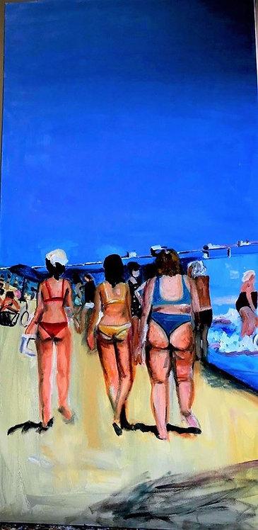 Bikini Beauties 48 x 24 Oil Original $1400 Prints from