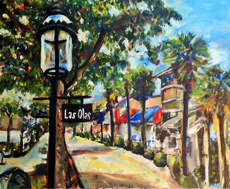 Las Olas Shopping 16x20 Oil Original $875 Prints From