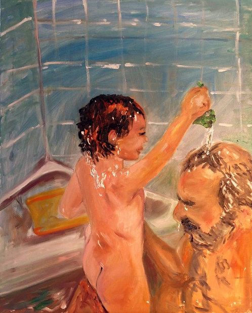 Bath Time Fun With Dad 30x24 Oil Original $1850 Prints From
