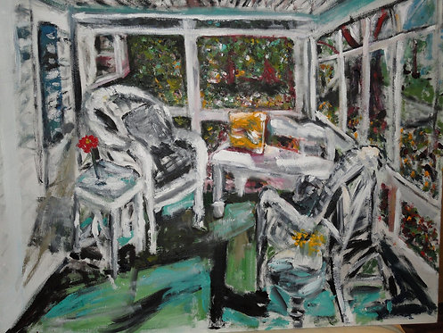 Cozy Porch with Wicker Chairs -  24x30 Oil Original $995 Prints From