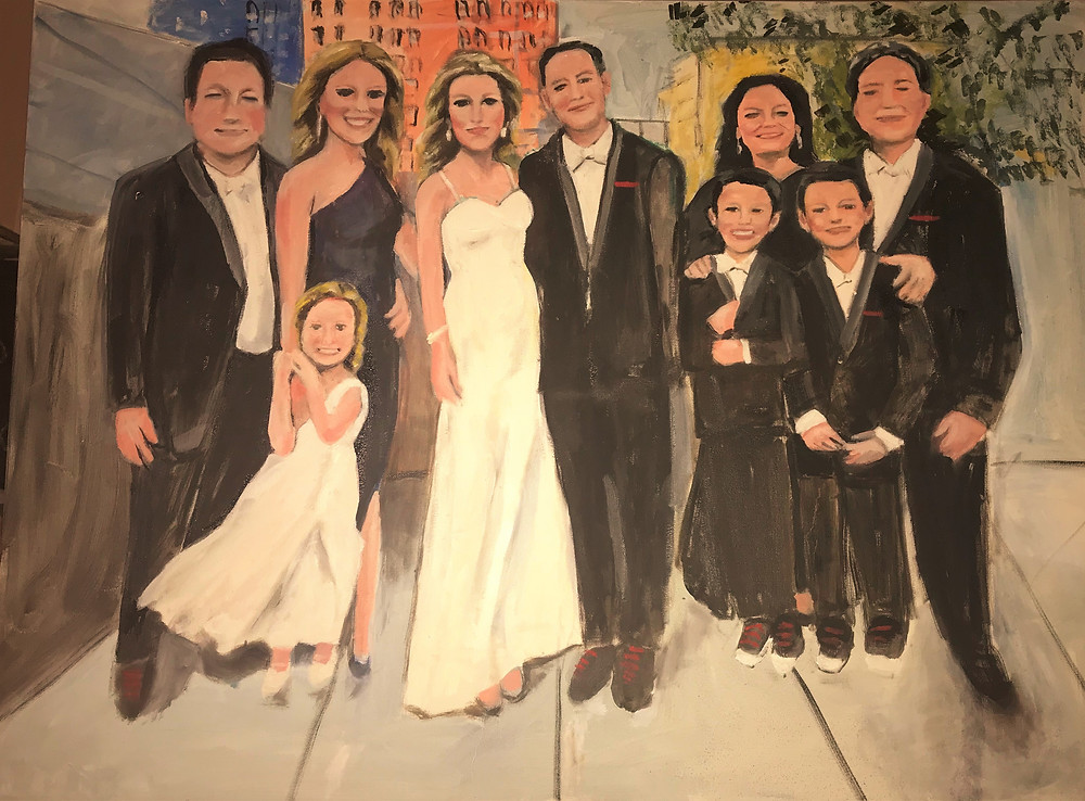I met both the engaged couple and the groom's mom of the wedding painting at art shows in Florida.They emailed their favorite photo to me and here are their memories on canvas they will have forever!