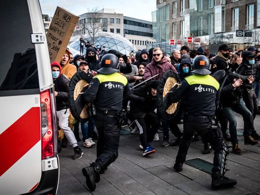 Riots caused by curfew in the Netherlands