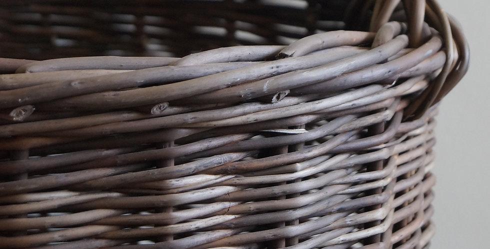 Canasto café/gris añejado tejido rústico