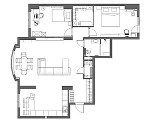 Планировка 3к-квартиры в Серебряном бору