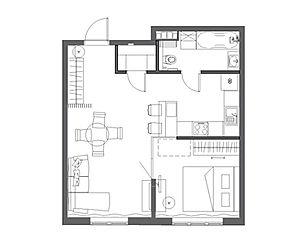 планировка квартиры 47 кв в Лесной поляне
