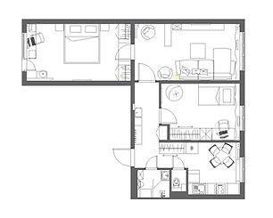 Планировка 3-к квартиры 66 кв. в панельн