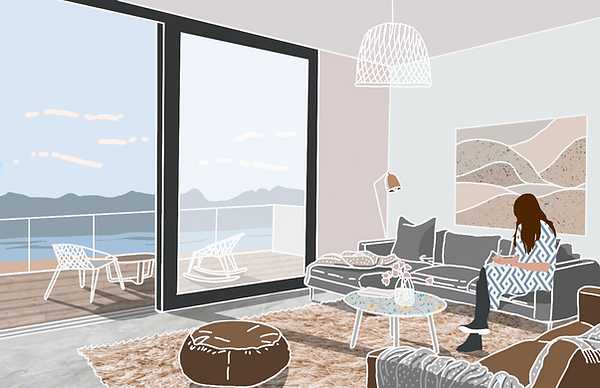 Rivendell extension interior design sketch Anglesey North Wales Architect Architecture