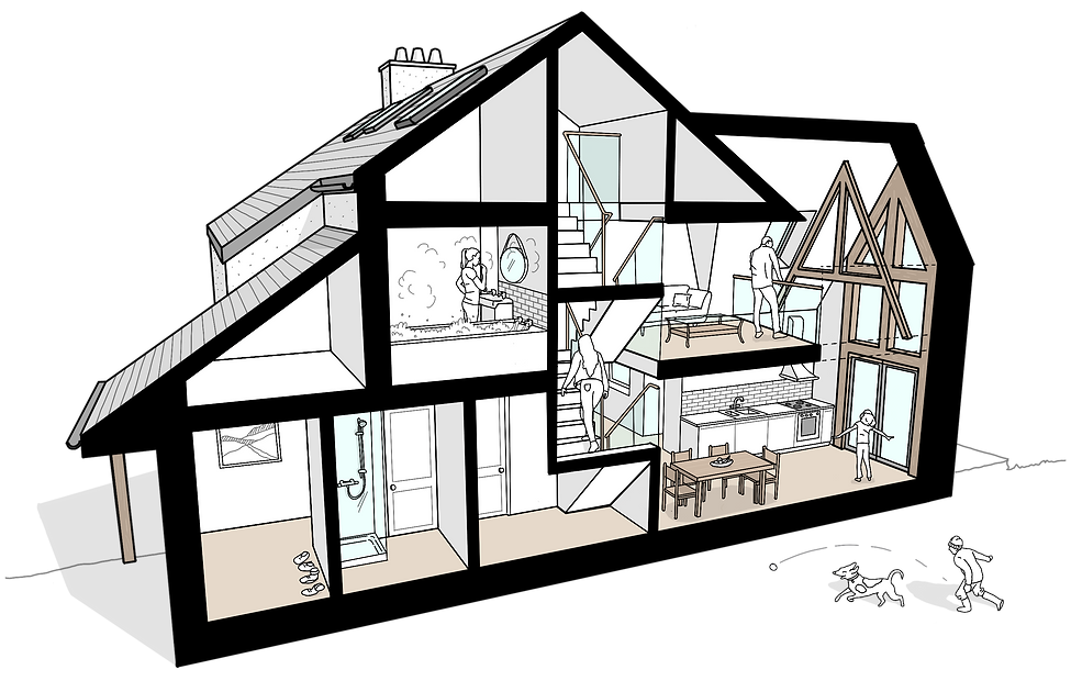 Frondeg Uchaf sketch timber frame extension Anglesey North Wales Architect Architecture