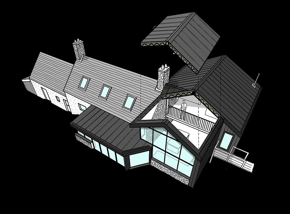 Gallt Y Rhedyn sketch Evergreen Architects Anglesey Wales