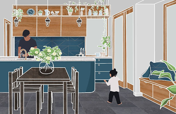 Ty Mawr extension interior design sketch Anglesey North Wales Architect Architecture